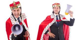 Ο επιχειρηματίας βασιλιάδων με το μεγάφωνο που απομονώνεται στο λευκό Στοκ Εικόνα