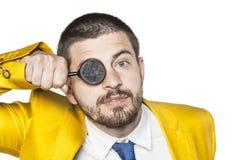 Ο επιχειρηματίας βλέπει παντού τα χρήματα Στοκ Φωτογραφίες
