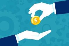 Ο επιχειρηματίας δίνει στο άτομο ένα χρυσό νόμισμα Οικονομική έννοια του δανεισμού των χρημάτων απεικόνιση αποθεμάτων