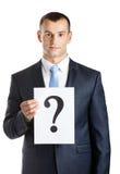 Ο επιχειρηματίας δίνει το έγγραφο με το ερωτηματικό Στοκ εικόνες με δικαίωμα ελεύθερης χρήσης