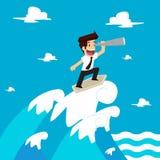 Ο επιχειρηματίας είναι διορατικός στα κύματα διανυσματική απεικόνιση