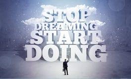 Ο επιχειρηματίας είναι φοβισμένος και χρειάζεται το κίνητρο Στοκ εικόνες με δικαίωμα ελεύθερης χρήσης