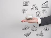 Ο επιχειρηματίας επιβεβαιώνει το πρόγραμμα Επιχείρηση ιδέας στο άσπρο υπόβαθρο Χ Στοκ εικόνα με δικαίωμα ελεύθερης χρήσης