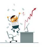 Ο επιχειρηματίας ευτυχής και επιτυχής επενδύει στο χρηματιστήριο Ελεύθερη απεικόνιση δικαιώματος