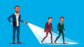 Ο επιχειρηματίας ηγετών φωτίζει τον τρόπο της ομάδας του με τη διανυσματική επίπεδη απεικόνιση κινούμενων σχεδίων φακών διανυσματική απεικόνιση
