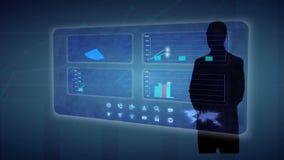 Ο επιχειρηματίας κάνει μια οικονομική ανάλυση στις οικονομικές γραφικές παραστάσεις εμπορικών συναλλαγών οθονών αφής διανυσματική απεικόνιση
