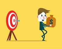 Ο επιχειρηματίας κάνει τα χρήματα από το χτύπημα βελών ελεύθερη απεικόνιση δικαιώματος