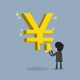 Ο επιχειρηματίας κάνει την ισχυρή επιχείρηση ή παίρνει τα WI απόδοσης της επένδυσης απεικόνιση αποθεμάτων