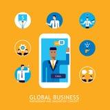 Ο επιχειρηματίας 46 κάνει την τηλεοπτική κλήση σφαιρική έννοια τις επιχειρησιακές επικοινωνίες και την τεχνολογία ελεύθερη απεικόνιση δικαιώματος