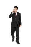 Ο επιχειρηματίας κάνει το περπάτημα τηλεφωνήματος στοκ εικόνα