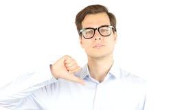 Ο επιχειρηματίας 0 και εξαγριωμένος παρουσιάζει αντίχειρες κάτω Στοκ Φωτογραφίες