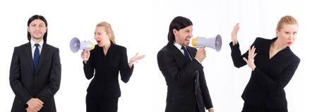 Ο επιχειρηματίας και η επιχειρηματίας με megaphone που απομονώνονται στο λευκό Στοκ Φωτογραφίες