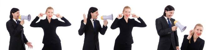 Ο επιχειρηματίας και η επιχειρηματίας με megaphone που απομονώνονται στο λευκό Στοκ Εικόνες