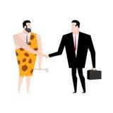 Ο επιχειρηματίας και οι αρχαίοι άνθρωποι κάνουν τη διαπραγμάτευση tradel με Businessma Στοκ Φωτογραφίες