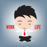 Ο επιχειρηματίας και χαλαρώνοντας με τη ζωή εργασίας η ισορροπία στο λωτό θέτει, διανυσματική απεικόνιση, υπόβαθρο Στοκ Εικόνες