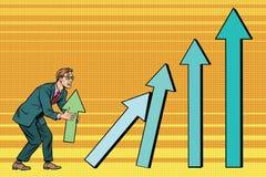 Ο επιχειρηματίας καταστρέφει τις πωλήσεις διαγραμμάτων αύξησης διανυσματική απεικόνιση