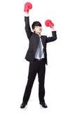 Ο επιχειρηματίας κερδίζει θέτει με τα εγκιβωτίζοντας γάντια Στοκ φωτογραφία με δικαίωμα ελεύθερης χρήσης