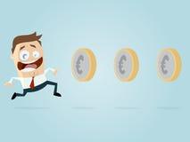 Ο επιχειρηματίας κερδίζει τα χρήματα όπως το παιχνίδι ενός παιχνιδιού Στοκ εικόνα με δικαίωμα ελεύθερης χρήσης