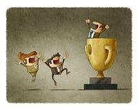 Ο επιχειρηματίας κερδίζει το στόχο με τη συνεργασία της ομάδας του διανυσματική απεικόνιση