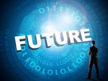 Ο επιχειρηματίας κοιτάζει στο μέλλον λέξης Στοκ Εικόνες
