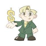 Ο επιχειρηματίας κρατά ένα σημάδι δολαρίων σε ένα χέρι ελεύθερη απεικόνιση δικαιώματος