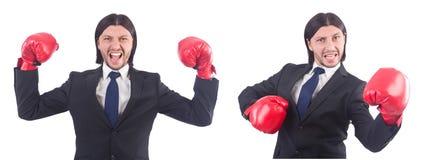 Ο επιχειρηματίας με τα εγκιβωτίζοντας γάντια στο λευκό Στοκ Εικόνες
