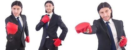 Ο επιχειρηματίας με τα εγκιβωτίζοντας γάντια στο λευκό Στοκ εικόνα με δικαίωμα ελεύθερης χρήσης
