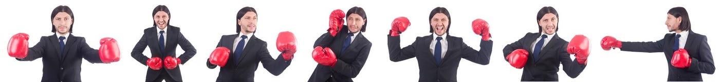 Ο επιχειρηματίας με τα εγκιβωτίζοντας γάντια στο λευκό Στοκ Φωτογραφία