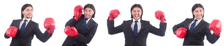 Ο επιχειρηματίας με τα εγκιβωτίζοντας γάντια στο λευκό Στοκ φωτογραφία με δικαίωμα ελεύθερης χρήσης