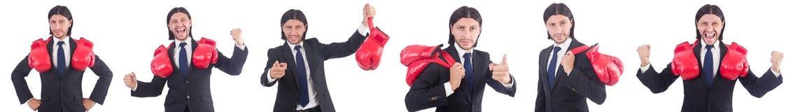 Ο επιχειρηματίας με τα εγκιβωτίζοντας γάντια στο λευκό Στοκ Φωτογραφίες