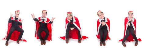 Ο επιχειρηματίας με την κορώνα που απομονώνεται στο λευκό Στοκ Φωτογραφία