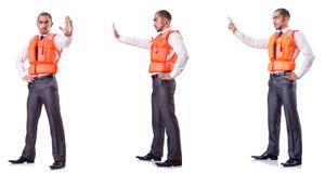 Ο επιχειρηματίας με τη φανέλλα ασφάλειας διάσωσης στο λευκό Στοκ φωτογραφίες με δικαίωμα ελεύθερης χρήσης