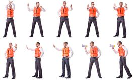 Ο επιχειρηματίας με τη φανέλλα ασφάλειας διάσωσης στο λευκό Στοκ Εικόνες