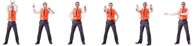 Ο επιχειρηματίας με τη φανέλλα ασφάλειας διάσωσης στο λευκό Στοκ εικόνες με δικαίωμα ελεύθερης χρήσης