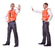 Ο επιχειρηματίας με τη φανέλλα ασφάλειας διάσωσης στο λευκό Στοκ φωτογραφία με δικαίωμα ελεύθερης χρήσης