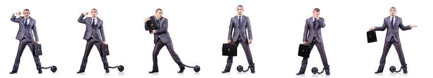 Ο επιχειρηματίας με τους δεσμούς στο λευκό Στοκ εικόνα με δικαίωμα ελεύθερης χρήσης