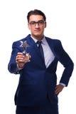 Ο επιχειρηματίας με το βραβείο αστεριών που απομονώνεται στο λευκό Στοκ Εικόνες
