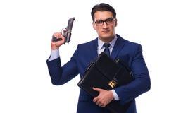 Ο επιχειρηματίας με το πυροβόλο όπλο που απομονώνεται στο λευκό Στοκ φωτογραφίες με δικαίωμα ελεύθερης χρήσης