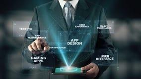 Ο επιχειρηματίας με App την έννοια ανάπτυξης επιλέγει App τη συντήρηση από τις λέξεις απεικόνιση αποθεμάτων