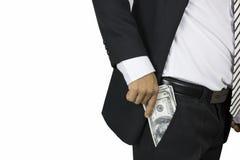 Ο επιχειρηματίας παρουσιάζει και παίρνει χρήματα, έννοια στην απόκτηση στοκ εικόνα