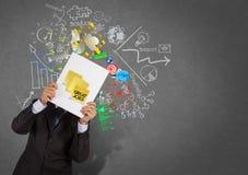 Ο επιχειρηματίας παρουσιάζει μεγάλες εργασίες στην κολλώδη σημείωση με την επιχείρηση ST βιβλίων Στοκ Φωτογραφίες