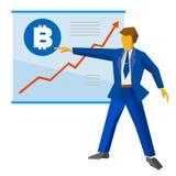 Ο επιχειρηματίας παρουσιάζει μια αφίσα με τα διαγράμματα bitcoin και ανάπτυξης Στοκ Φωτογραφία