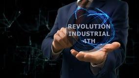 Ο επιχειρηματίας παρουσιάζει στην επανάσταση ολογραμμάτων έννοιας βιομηχανικό 4ο σε ετοιμότητα του απόθεμα βίντεο