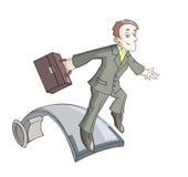 Ο επιχειρηματίας πηδά στην αφετηρία διανυσματική απεικόνιση
