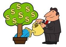 Ο επιχειρηματίας ποτίζει το δέντρο 3 χρημάτων διανυσματική απεικόνιση
