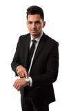 Ο επιχειρηματίας που λέει το χρόνο είναι χρήματα Στοκ φωτογραφίες με δικαίωμα ελεύθερης χρήσης