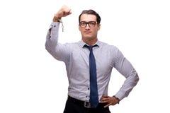 Ο επιχειρηματίας που δένεται με χειροπέδες που απομονώνεται στο λευκό στοκ φωτογραφία