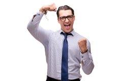 Ο επιχειρηματίας που δένεται με χειροπέδες που απομονώνεται στο λευκό στοκ φωτογραφίες με δικαίωμα ελεύθερης χρήσης