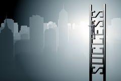 Ο επιχειρηματίας που αναρριχείται στη σκάλα σταδιοδρομίας της επιτυχίας Στοκ Εικόνες