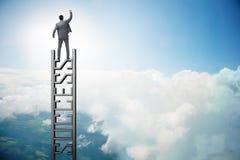 Ο επιχειρηματίας που αναρριχείται στη σκάλα σταδιοδρομίας της επιτυχίας Στοκ φωτογραφία με δικαίωμα ελεύθερης χρήσης